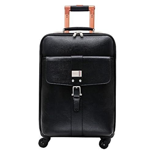 Femoooboro 銀付牛革素材 ブラック Trolley Carry-on スーツケーストップ - 22''