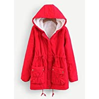 INFASHION Women's Red Preppy Faux Fur Lined Utility Parka Coat with Long Sleeve Drawstrin