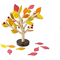 Sacow DIY木製木組立ブロックセット 赤ちゃん 挿入 葉 3Dツリーブロック 木製組み立て玩具 子供早期教育玩具 (3~6歳) 15.6 * 15.5 * 7.5cm イエロー 021