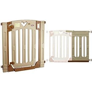 【セット買い】日本育児 ベビーゲート スマートゲイト II 6ヶ月~24ヶ月対象 扉開閉式の突っ張りゲート 幅木よけつき+拡張フレーム