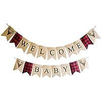 Welcome Baby Banner ホームデコレーション 新生児 男の子 女の子 寝室 子供部屋 ウォールデカール (エルク)