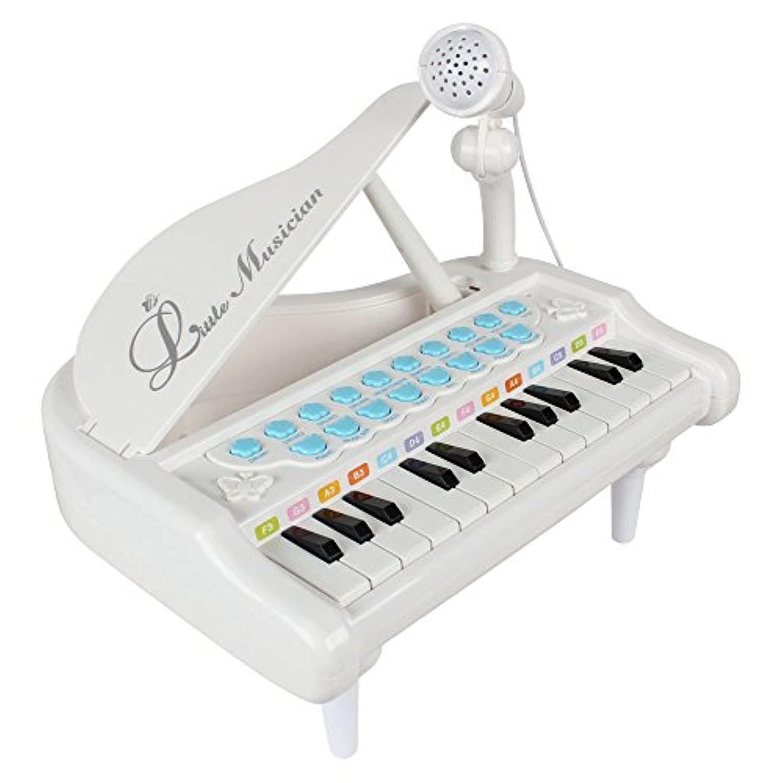 Baoli ピアノおもちゃ p-24ミニピアノ キッズキーボード(ホワイト)
