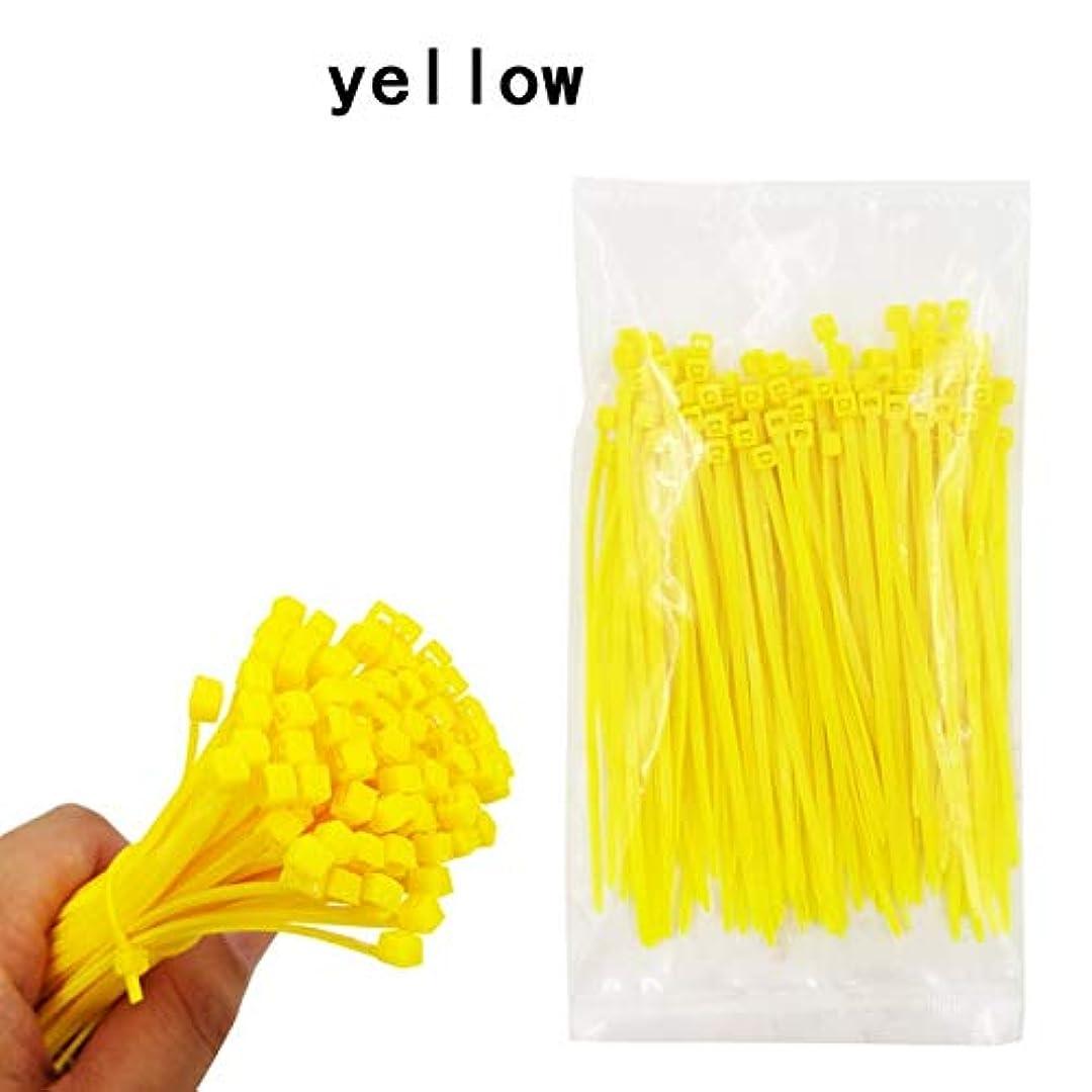 背の高い興味サロンタグジップタイ 100PCSセルフロックナイロンケーブルタイ3 * 150ミリメートル6色プラスチックジップタイ黒い線がラップストラップナイロンバインディング LKYJP (Color : Yellow2.5x150mm, Size : フリー)
