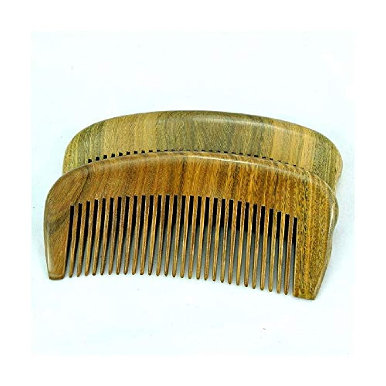 疼痛求めるサポートFashianナチュラルグリーンサンダルウッド手作りの木製くしポータブルヘアブラシ ヘアケア