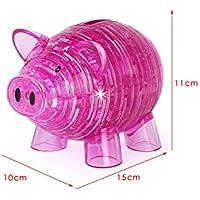 幼児期のゲーム インテリジェンスおもちゃ漫画かわいい豚銀行3Dステレオクリスタルブロックは、おもちゃを組み立てる(赤)