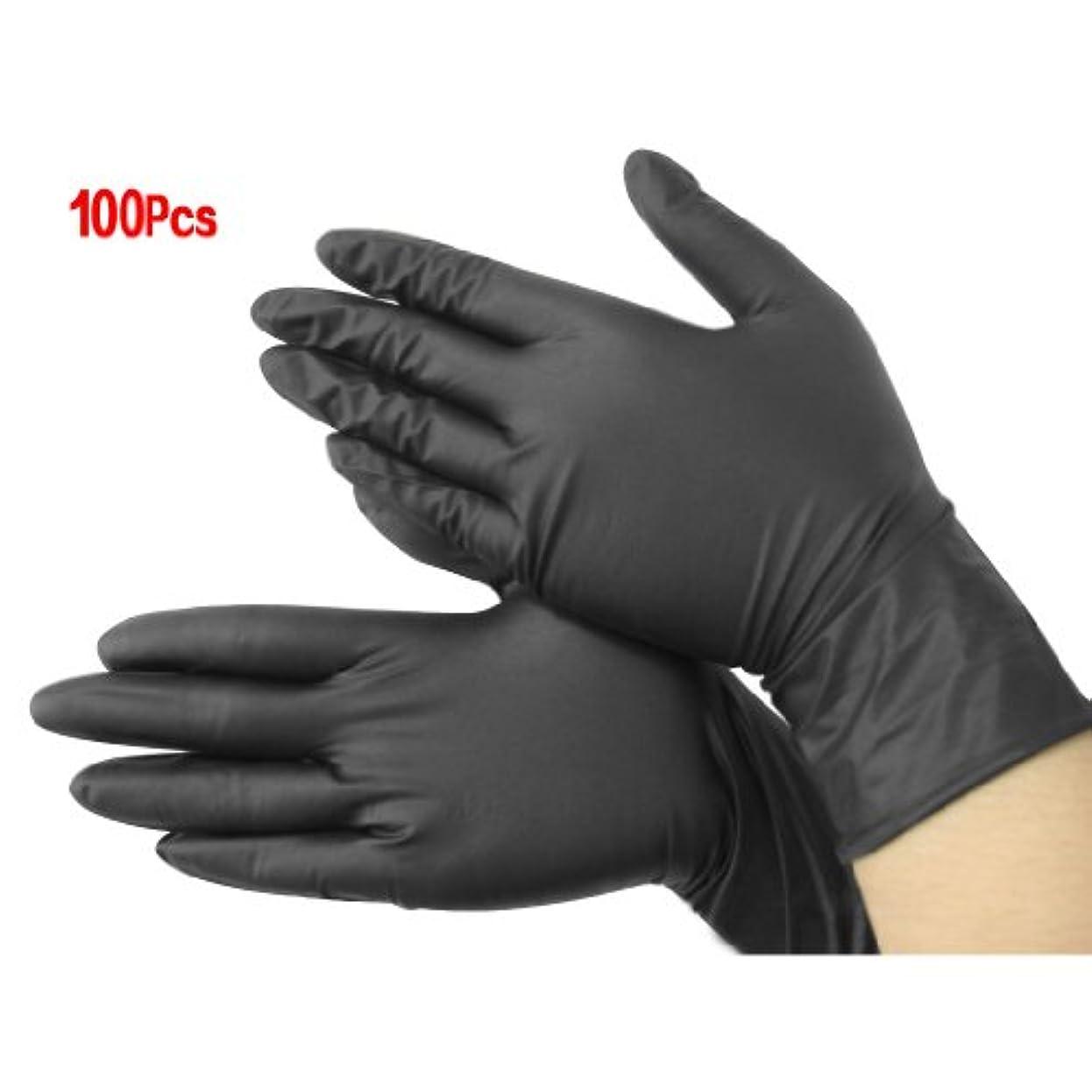 典型的な活気づけるブロンズ手袋,SODIAL(R)黒いニトリル使い捨てクール手袋 パワーフリーX100 - 入れ墨 - メカニック 新しい