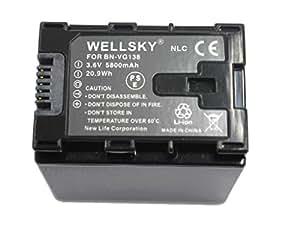 【WELLSKY】 Jvc Victor ビクター ● BN-VG138 / BN-VG129  ● 純正充電器で充電可能 残量表示可能 純正品と同じよう使用可能 ● GZ-MS210/GZ-MG980/GZ-HD620/GZ-HM350/GZ-HM450/GZ-HM570/GZ-HM670/GZ-HM690/GZ-HM880/GZ-HM890/GZ-HM990/GZ-MS230/GZ-E265/GZ-E225/GZ-E220/GZ-G5/GZ-EX270/GZ-EX250/GZ-E280/GZ-E320/GZ-E325/GZ-E345/GZ-EX350/GZ-EX370/GZ-E565/GV-LS1/GV-LS2/GZ-N1/GZ-N5等対応