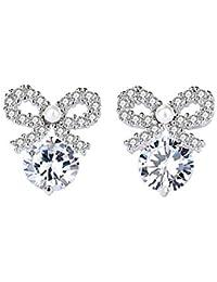 ZAME 925純銀アクセサリー の小衆デザイン感覚、ダイヤモンドリボンは女性ピアス (銀色)