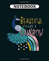 Notebook: peacock rainbow  College Ruled - 50 sheets, 100 pages - 8 x 10 inches