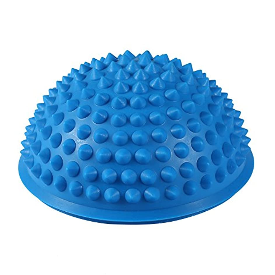 つづり討論貢献するハーフラウンドPVCマッサージボールヨガボールフィットネスエクササイズジムマッサージ5色(青)