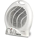 Pifco Upright Portable Fan Heater and Air Cooler, Adjustable Thermostat, Safety Cut Out, 2 Heat Settings 1000 - 2000 W, White