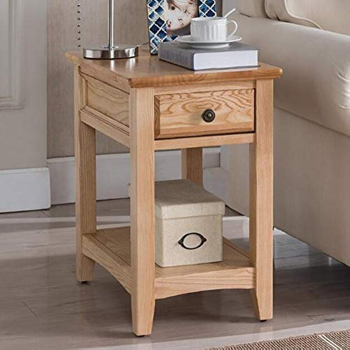 発掘精神ぞっとするようなCJC テーブル、現代のサイドエンドテーブル、引き出しと下の棚が付いている家の純木、オーク材 (色 : Wooden color)