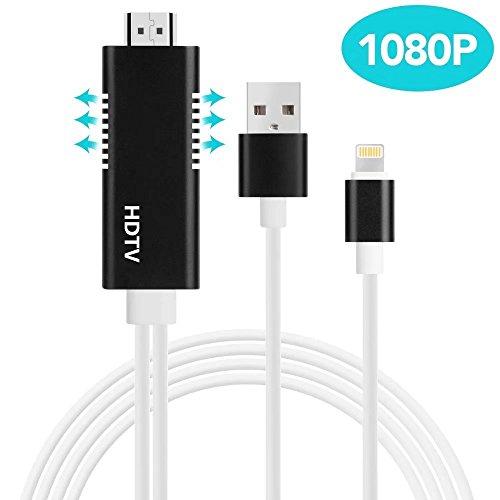 iPhone テレビ 接続ケーブル, AROC lightning HDMI 変換ケーブル ライトニング HDMI変換アダプタ 最新版 HD1081P 高解像度 設定不要 大画面 音声出力可 品質保証iPhone iPad等対応 黒