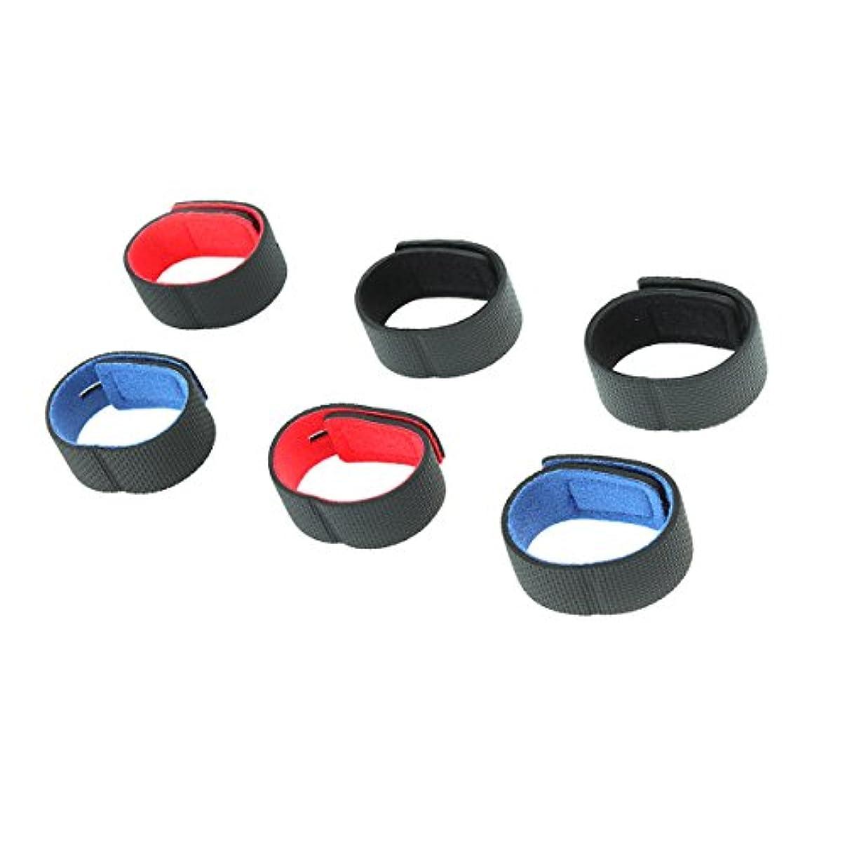 辞任する理容師独立VORCOOL 6個釣りロッドベルトケーブルタイストラップ粘着滑り防止ストラップFixationデバイス釣りロッドバンデージ器具(2レッド, 2ブルーと2ブラック)
