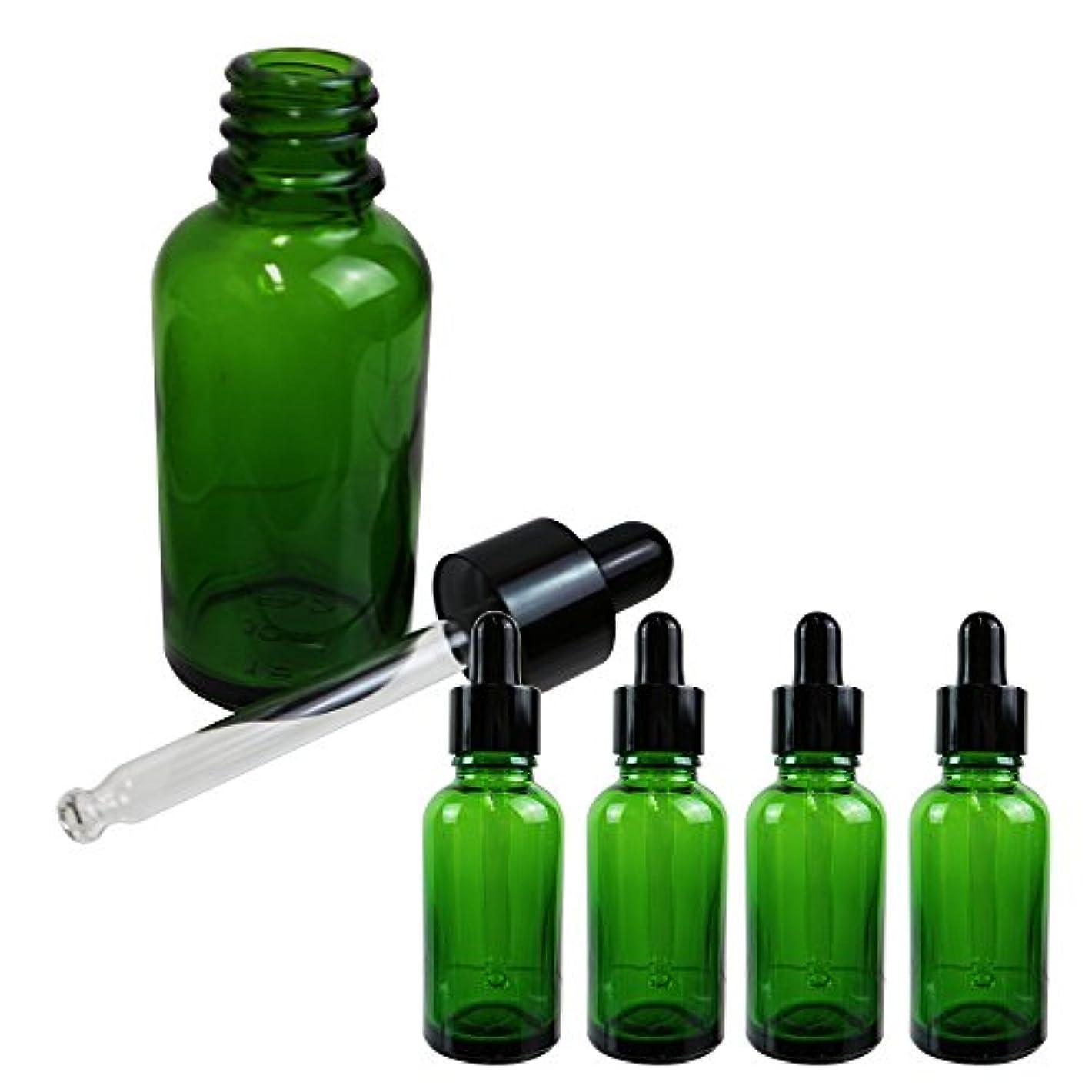 ジョガーピンチ努力するSunlitous スポイト付き遮光瓶 香水 アロマ 化粧水 小分け 保存用 30ml 5本セット (グリーン)
