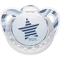 ヌーク NUK おしゃぶり お口の発達 鼻呼吸を促す トレンドライン (キャップ付) S【0~6ヶ月】【ドイツ製】【ママの乳首を再現】/ブルースター OCNK5010114