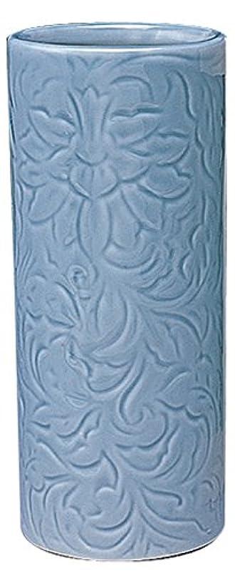 水星行為保存マルエス 御仏具 青磁唐草投入花瓶 7.0寸 ブルー