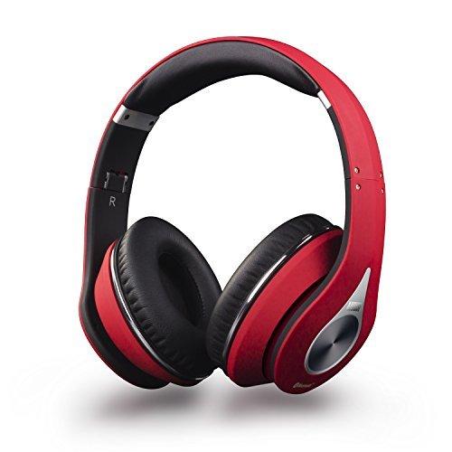 August Bluetooth ワイヤレス ヘッドフォン apt-X NFC搭載 折り畳み式 ケーブル着脱式 マイク付 赤 EP640