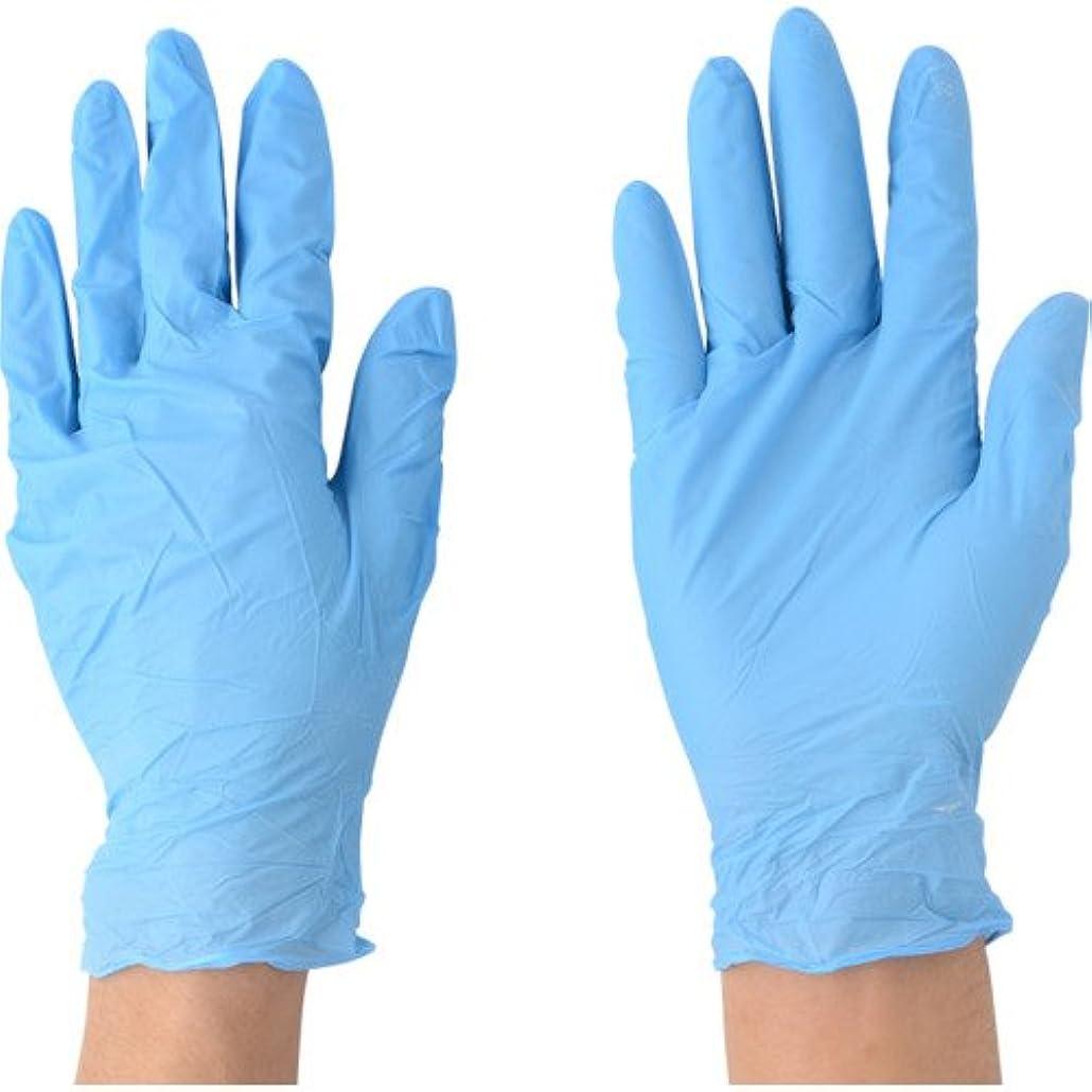 川西工業 ニトリル 極薄手袋 粉付 100枚入 #2043 ブルー SS