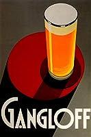 """GangloffビールBigガラスライトAle 16"""" x 24"""" Pilsen大きいヴィンテージポスターREPRO"""