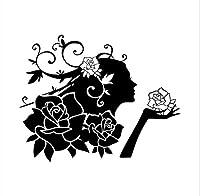 Mrlwyウォールステッカー美容で花の家の装飾ウォールステッカー女性のリビングルームロマンチックな装飾素晴らしいギフト用ガールフレンド62×79センチ