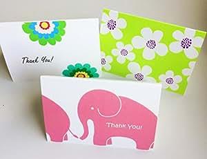 BLUEPAGE ミニ サンキューカードセット 3種類 10.5x7.3cm二つ折り 中無地 封筒つき(デザインはピンクのぞうさん、グリーンワイン、グリーンサマー)