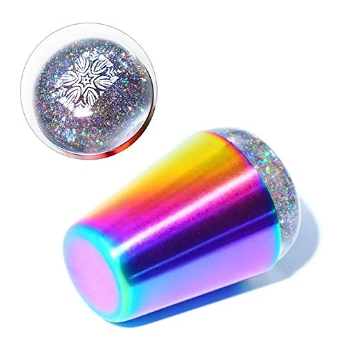 中級無傷反対するWadachikis 最高の販売透明な釘スタンパースクレーパーホログラフィック虹ハンドルネイルアートツール(None B)