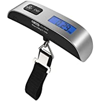Sunny&Lucky [Backlight LCD Display Luggage Scale]Dr.meter 110lb/50kg Electronic Balance Digital Postal Luggage Hanging Scale with Rubber Paint Handle,Temperature Sensor, Silver/Black, 1 Pack