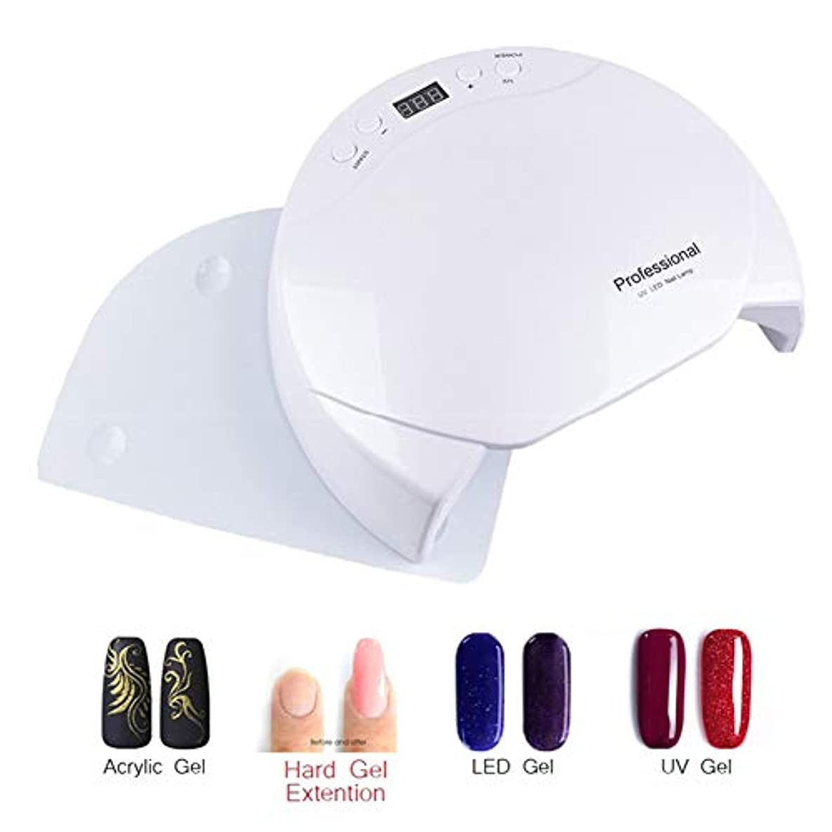 補助金弱める供給48W UV LEDネイルランプUVネイルドライヤーダブルライトセンサーLEDネイルランプマニキュア機用UVジェルポリッシュ