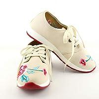 中国スタイルフラワー刺繍靴通気性ショック吸収スニーカーレースアップ (ホワイト,23cm)