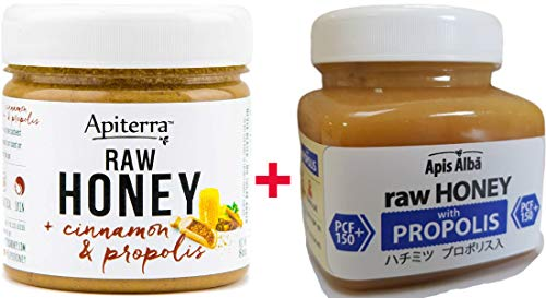 【Amazon.co.jp限定】 はちみつ 蜂蜜 ハチミツ 生 2個組 セット (シナモンハニー 200g、プロポリスハニー150+ 390g)Raw Honey Set Cinnamon and Propolis 200g & Propolis PCF