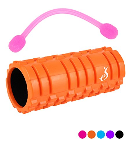 [eS](エス) フォームローラー のびーるストレッチ付 5色 高品質 身体メンテナンス Foam Roller (オレンジ)