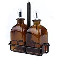 オイルと酢ディスペンサーセット、ガラスオリーブオイルボトルまたはDishソープディスペンサーキッチンg52m Amber Roma Bottles。ステンレススチール、コルクと注ぎ口ブラックメタルキャディ含ま