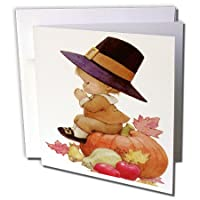 Sandy Mertens秋と感謝祭–ヴィンテージPilgrim Boy on Pumpkin–グリーティングカード Set of 12 Greeting Cards