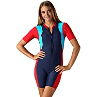 Aroona Women's One Piece Swimsuit Boy Shorts Swimwear S M L XL 2XL 3XL Black