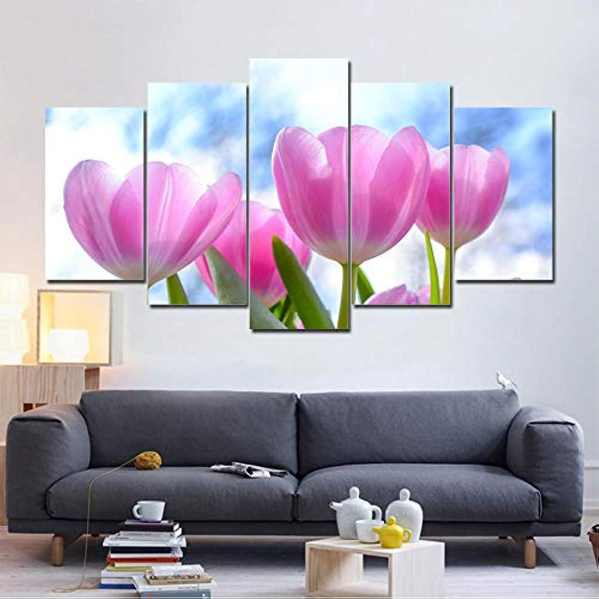 実現可能つまらない呼ぶOjilkt ホームデコレーションキャンバス絵画Hdプリントフラワー5ピース植物壁アートリビングルームの背景モジュラー写真アートワークポスター-Size2-フレームレス