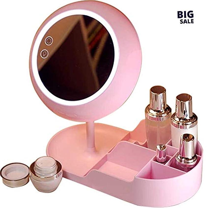 彫刻家有効化ワックスNICEE創造的な化粧鏡充電式美容化粧鏡、タッチデュアル電源、化粧品収納ボックス化粧鏡NICEY