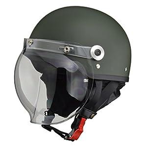 リード工業 バイクヘルメット ジェット CROSS バブルシールド付きハーフヘルメット マットグリーン CR-760 FREE (頭囲 57cm~60cm未満)