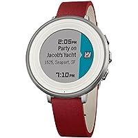 Pebble Time Round 極薄かつ超軽量の丸型スマートウォッチ「ペッブルタイム・ラウンド」Silver with Nubuck Red Leather [並行輸入品]