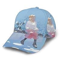 読書 鳥 少女 日よけ帽 野球帽 ゴルフ帽 ユニセックス 調整可能なフルプリント野球帽 かっこいい 四季 快適な スポーツ アウトドア 毎日