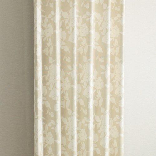 防炎カーテン 遮光 バラ柄 ベージュ かわいい花柄 北欧 (幅100cm×丈200cm2枚)
