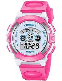 腕時計 子供用 デジタル時計 キッズ 多機能 小学生ウォッチ LED 防水 カレンダー 日付曜日 12/24切り替え ピンク