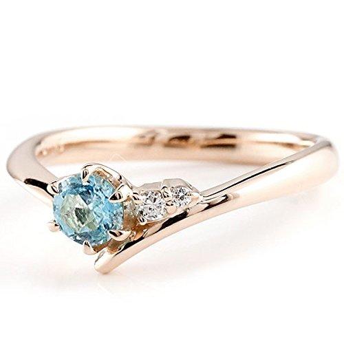 [アトラス] Atrus リング エンゲージリング ピンクゴールド 18金 指輪 ブルートパーズ ダイヤモンド 一粒 大粒 天然石 誕生石のエンゲージリング (11月の誕生石ブルートパーズ) ファッションリング 16号