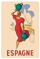 22cm x 30cmヴィンテージハワイアンティンサイン - スペイン - スペイン語のブロンド - ビンテージな世界旅行のポスター によって作成された マーシャス・ホセ・モレル c.1930s