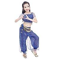 (Newya) ニューヤ 児童 ベリーダンス 3点セット (上着+ズボン+腰飾り) インドダンス 練習着 ラテン モダンダンス ステージ衣装 社交ダンスドレス 演出服 衣装 女の子 短袖 S ブルー