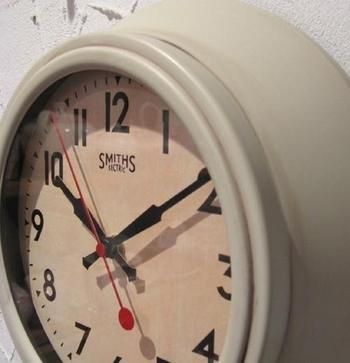 SMITHS スミス 復刻版 レトロ ウォールクロック 掛時計 アイボリー