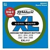 D'Addario ダダリオ エレキギター弦 ニッケル Medium Top/Extra Heavy Bottom .011-.056 EXL117 【国内正規品】