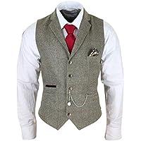 Mens Tweed Waistcoat Vest Vintage Check Smart Casual Tailored Fit Herringbone