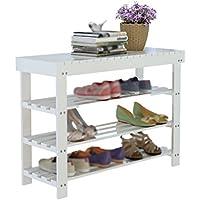 QFF 3層の白い靴のベンチ、スニーカーサンダルのストレージラックのストリップ靴の店のディスプレイスツール木製の塵の棚 多層 (サイズ さいず : 29 * 60 * 80CM)