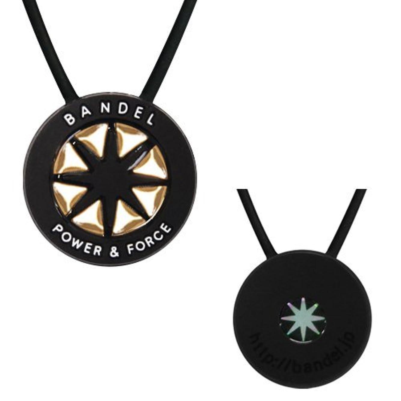 トピック熱望するピンポイントバンデル(BANDEL) メタルプレート スポーツギア シリコンネックレス (ブラック×ゴールド) ショートタイプ